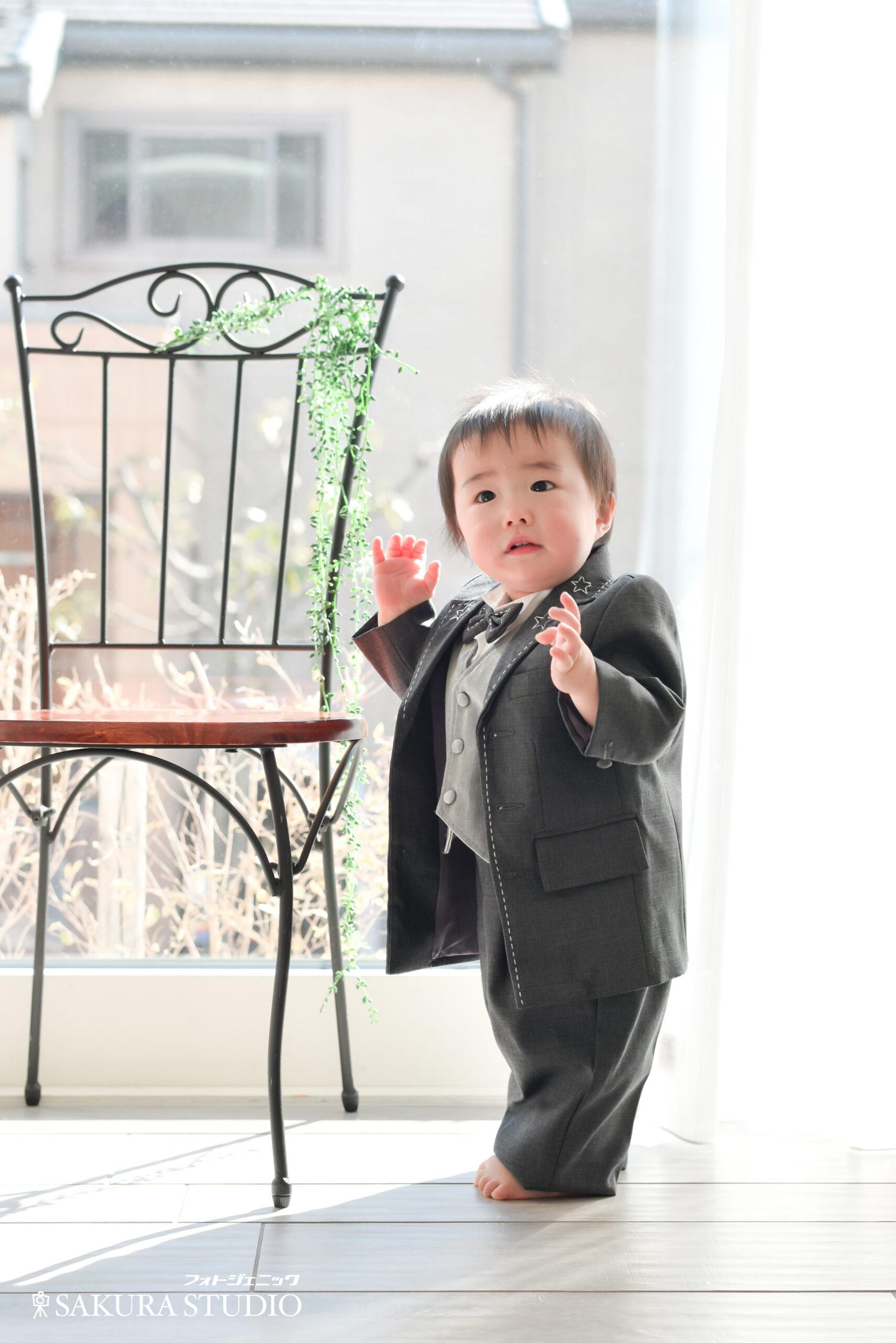 1歳 男の子 お誕生日 バースデー 兄弟 フォトスタジオ フォトジェニックサクラスタジオ
