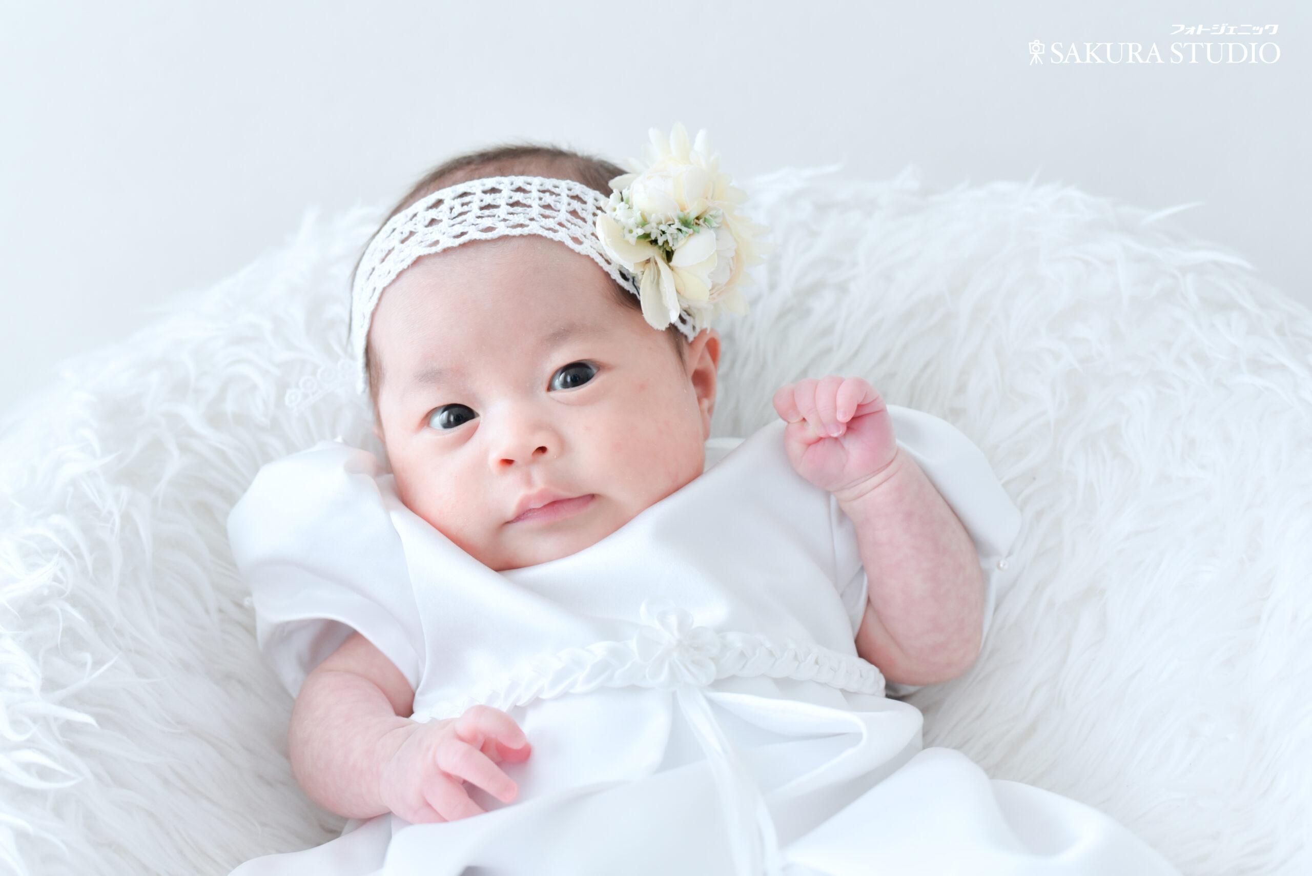 お宮参り 女の子お宮参り 赤ちゃん 産着 ベビードレス 姉妹写真 栃木 宇都宮 フォトスタジオ フォトジェニックサクラスタジオ