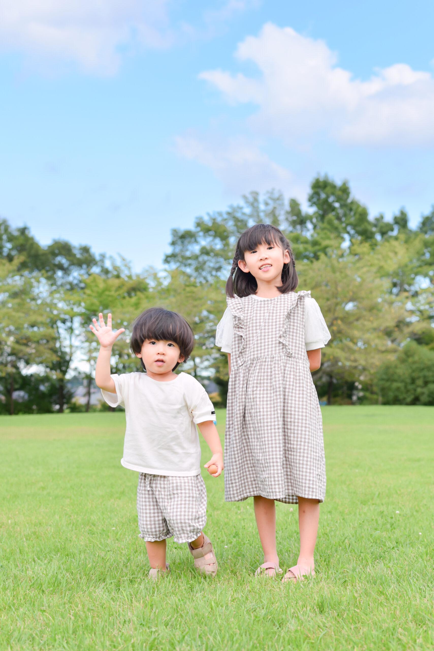 夏 公園 2歳 男の子 こども 6歳お姉ちゃんと二人写真 写真撮影 ロケーションフォト 宇都宮