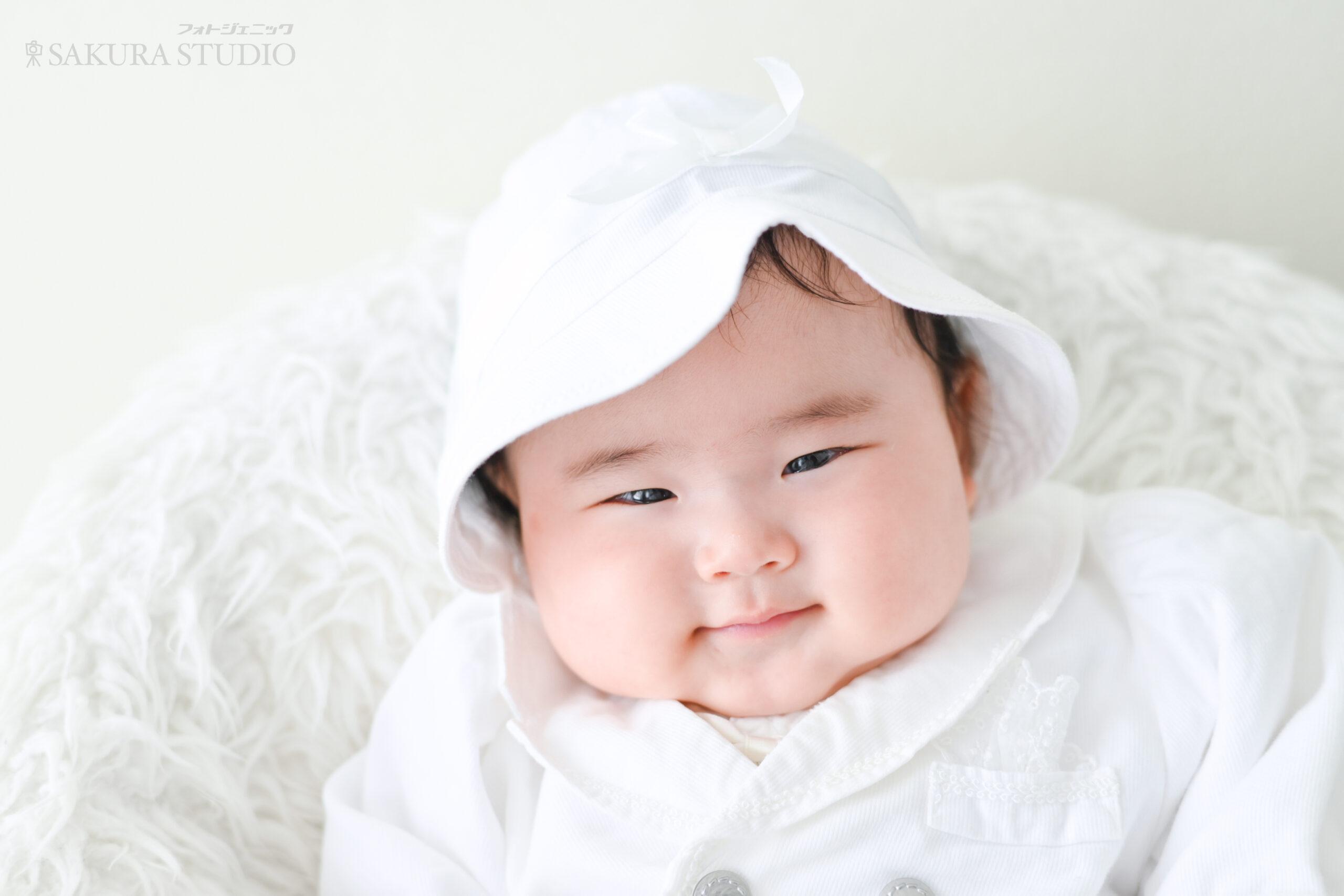 お宮参り 赤ちゃん 男の子 産着 ベビードレス はだかんぼ フォトジェニックサクラスタジオ 栃木 宇都宮